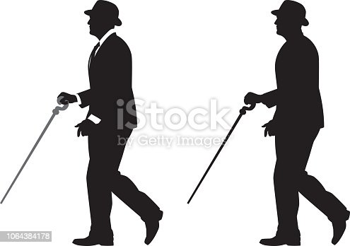 Vector silhouette of a man wearing a suit and bowler hat walking with a cane.
