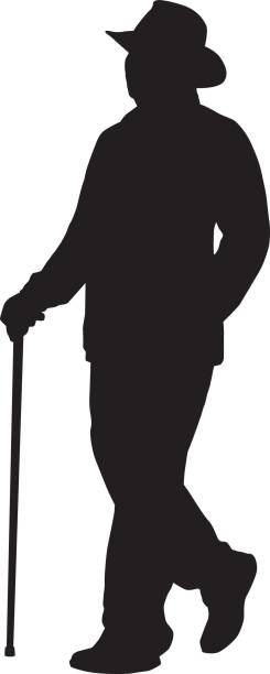 man walking with cane silhouette. - old man hat stock illustrations, clip art, cartoons, & icons