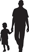 Man Walking with Child Silhouette