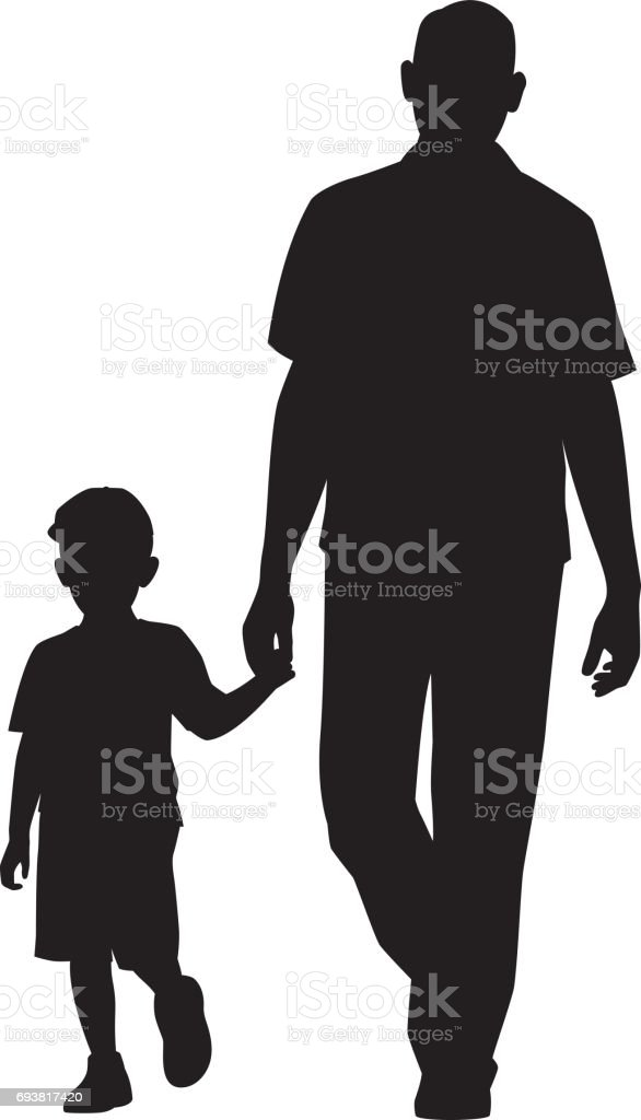 Man Walking with Child Silhouette vector art illustration
