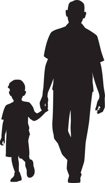 man walking with child silhouette - father stock illustrations, clip art, cartoons, & icons