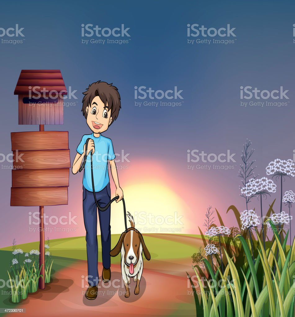 Man walking with his dog royalty-free man walking with his dog stock vector art & more images of adult