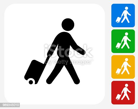 istock Man walking with Suitcase Icon 989345010
