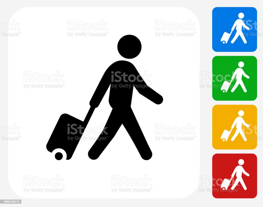 Man walking with Suitcase Icon vector art illustration