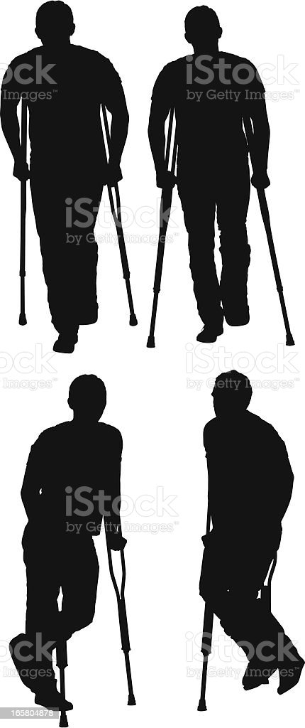 Man walking with the help of crutches vector art illustration