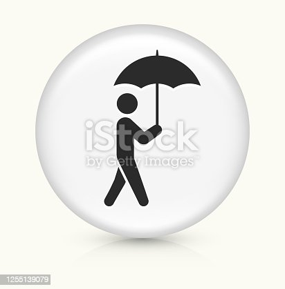 Man Walking With Umbrella Icon. This 100% royalty free vector illustration is featuring a round button with a drop shadow and the main icon is depicted in black. The button had a slight bevel 3D effect.