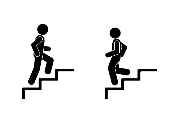 mann geht die treppe rauf und runter, stick figur pictograms menschen - treppe stock-grafiken, -clipart, -cartoons und -symbole
