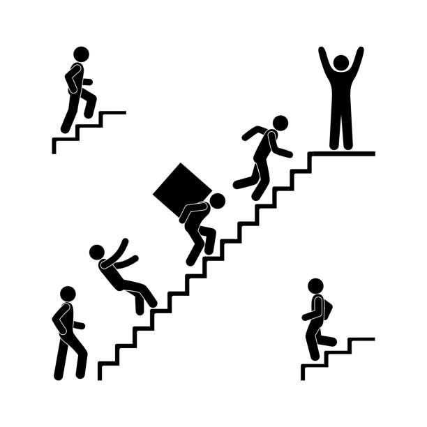stockillustraties, clipart, cartoons en iconen met man loopt de trap op, stok figuur pictogram, illustratie van mensen, vallen van een ladder, vervoeren lading, op en neer trappen - tree