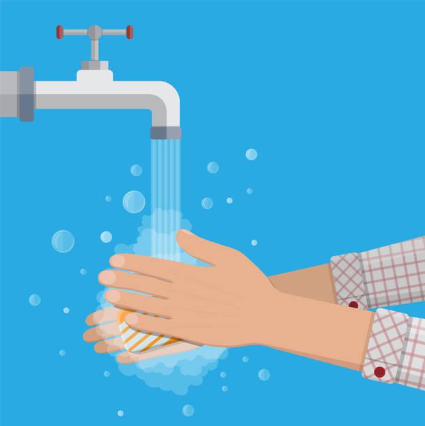 man wäscht hände mit seife - hände wasser waschen stock-grafiken, -clipart, -cartoons und -symbole