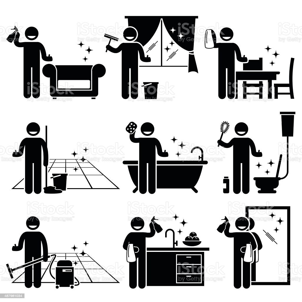 man washing and cleaning house pictogram stock vector art more images of 2015 487981034 istock. Black Bedroom Furniture Sets. Home Design Ideas