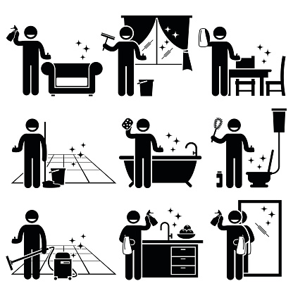 Man washing and cleaning house pictogram