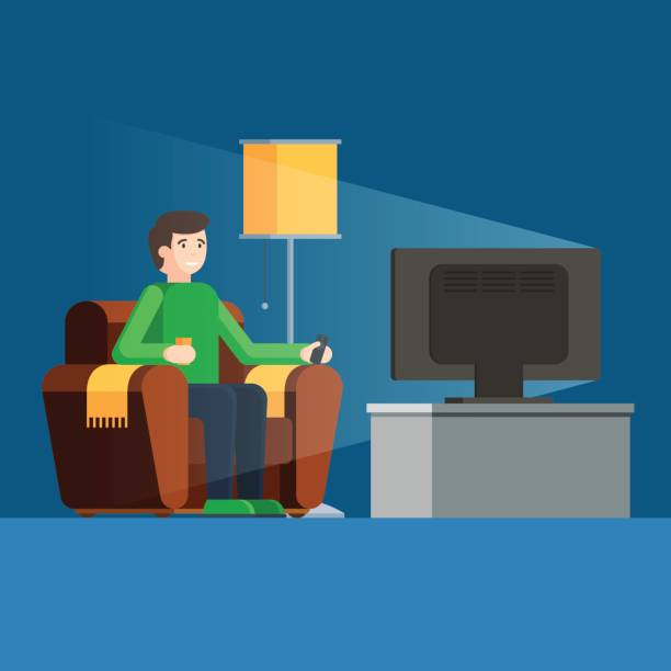 mann sieht tv auf sofa mit kaffeetasse - funktionssofa stock-grafiken, -clipart, -cartoons und -symbole