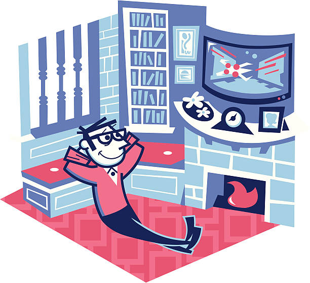man watching a movie at home - peter bajohr stock illustrations