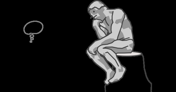 hand drawn cartoon characters - man watching a Rodin's thinker imitation