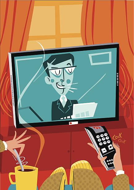Hombre mirando televisión y completar el volumen y café. - ilustración de arte vectorial