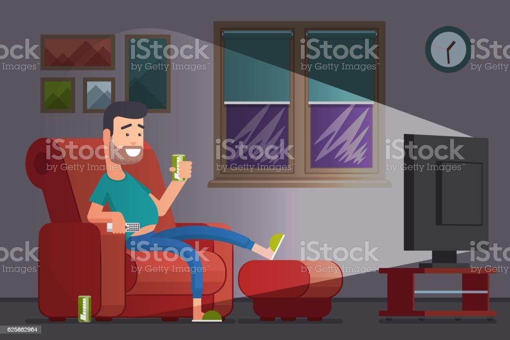 Man watching TV and drinking beer cartoon vector illustration vector art illustration
