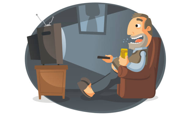 Man watching TV and drinking beer vector art illustration