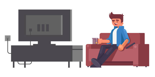 Man watching TV and drinking tea vector illustration suave stock illustrations