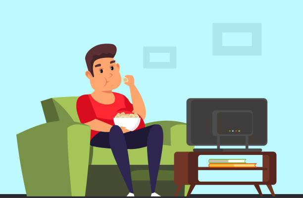 Man watching TV flat vector illustration Man watching TV flat vector illustration. Lazy overweight guy relaxing at home. Unhealthy lifestyle. Bad habits. Obese male color cartoon character sitting on couch and eating junk food one man only stock illustrations