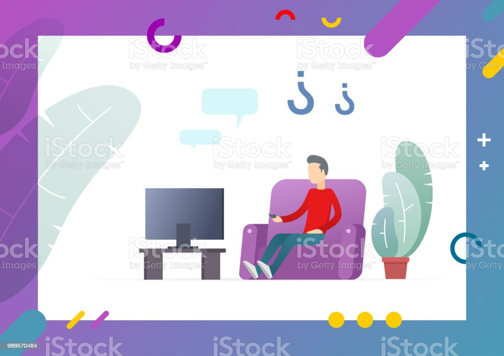 Man Watching Tv On Comfortable Sofa Stock Illustration ...
