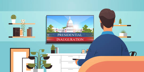 man watching tv with capitol white house building USA presidential inauguration day celebration concept man watching tv with capitol white house building USA presidential inauguration day celebration concept living room interior horizontal portrait vector illustration inauguration stock illustrations