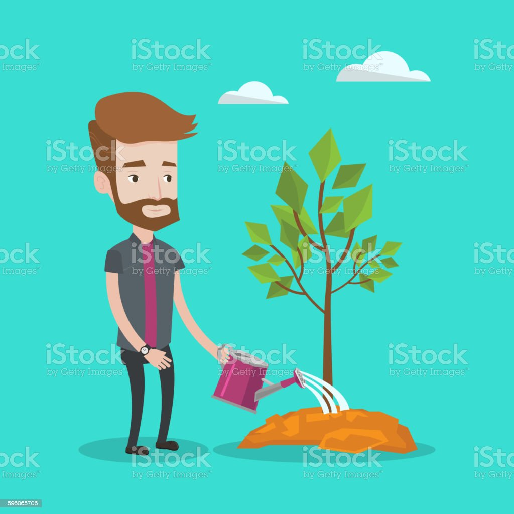 Man watering tree vector illustration. royalty-free man watering tree vector illustration stock vector art & more images of can