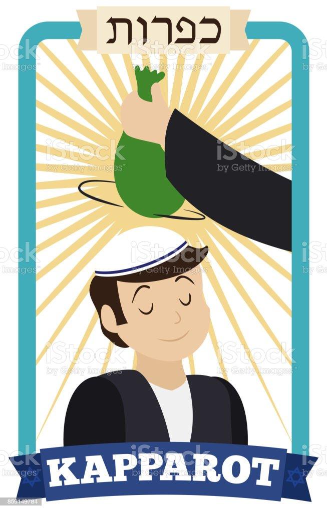Man Waving Money Bag over Head of Boy for Kapparot vector art illustration