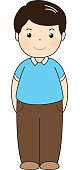 man wear blue polo shirt standing vector