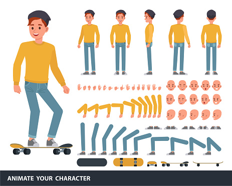 Man wear yellow shirt character vector design. Create your own pose.