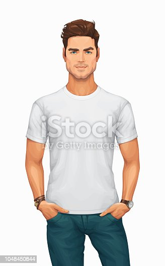 Handsome Young Man Wearing a Blank White T-shirt and Blue Jeans – Vector Illustration.
