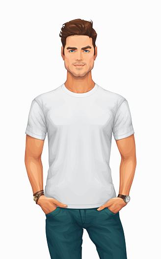 Man Wearing a Blank White T-Shirt