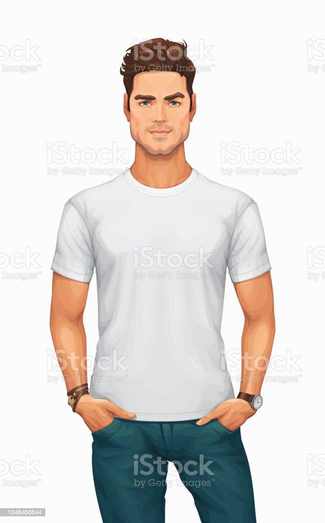 Man Wearing a Blank White T-Shirt vector art illustration