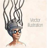 Man wearing a brain-control helmet. Digital addiction. Vector illustration
