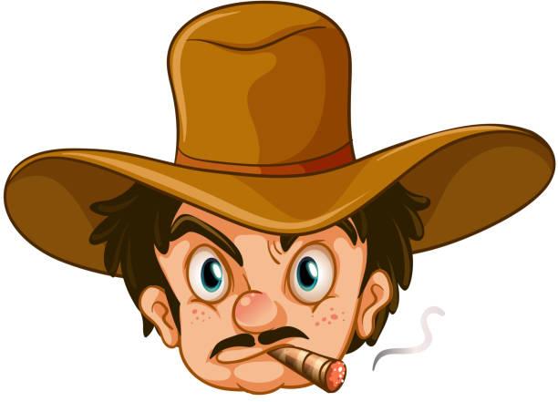 man wearing a brown hat while smoking - old man smoking cigar stock illustrations, clip art, cartoons, & icons