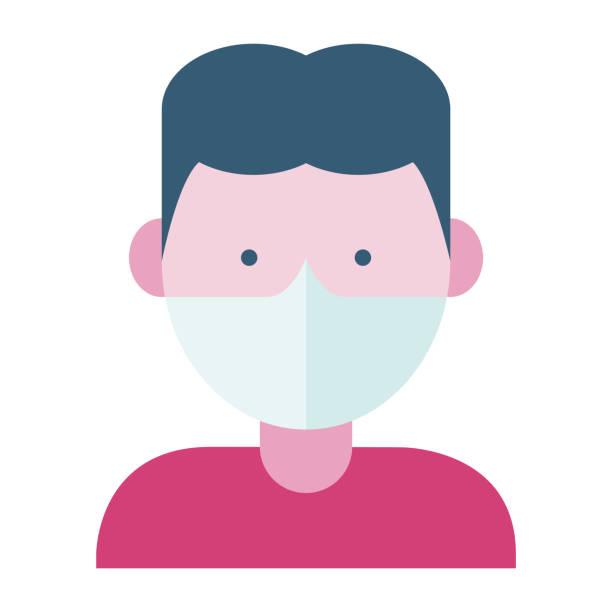 mann trägt eine gesichtsmaske - ffp2 maske stock-grafiken, -clipart, -cartoons und -symbole