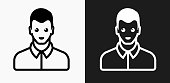 Man Wearing a Formal Shirt Icon on Black and White Vector Backgrounds. This vector illustration includes two variations of the icon one in black on a light background on the left and another version in white on a dark background positioned on the right. The vector icon is simple yet elegant and can be used in a variety of ways including website or mobile application icon. This royalty free image is 100% vector based and all design elements can be scaled to any size.