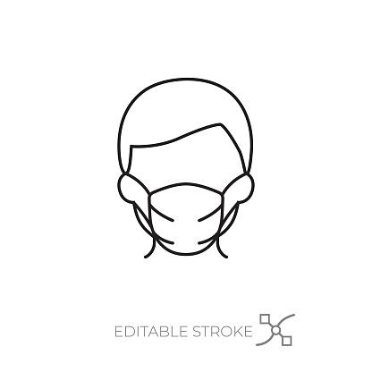 Man wearing a mask icon editable stroke