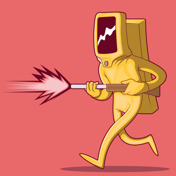 man wearing a radiation suit running with a gun vector illustration. - cartoon of a hazmat suit stock illustrations, clip art, cartoons, & icons