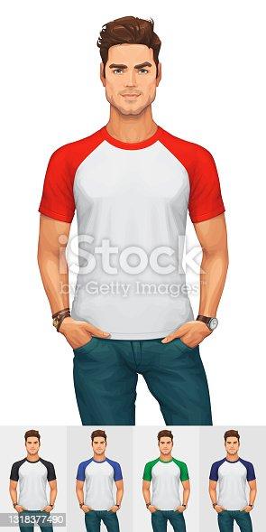 Man Wearing a Raglan T-Shirt