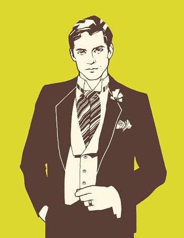 Man Wearing Ascot Tie