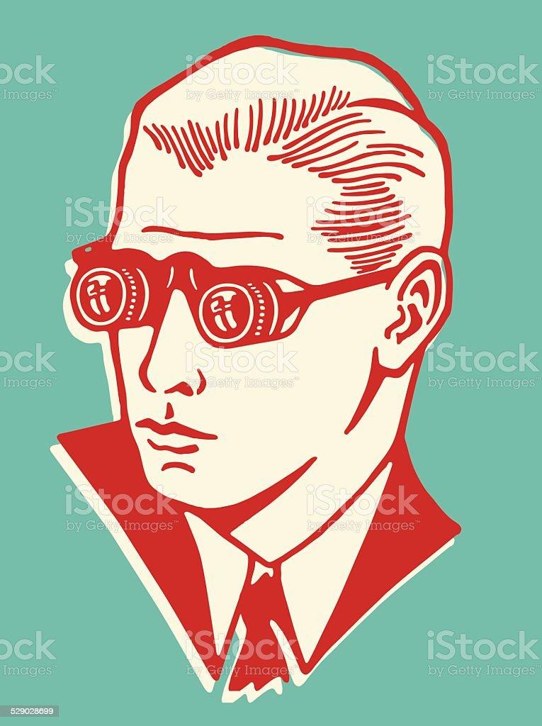 Man Wearing Binocular Eyeglasses
