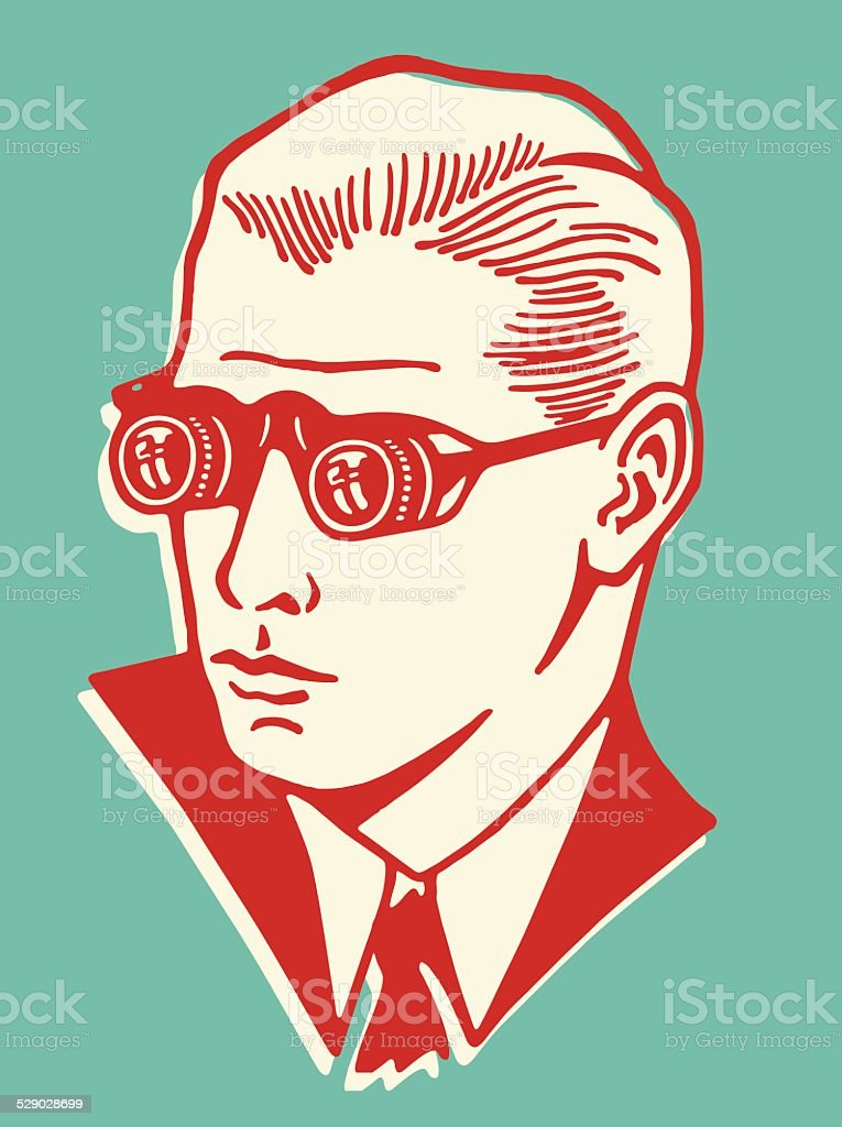 Man Wearing Binocular Eyeglasses vector art illustration