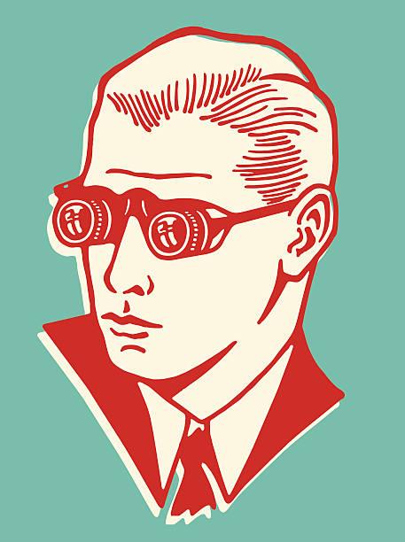 man wearing binocular eyeglasses - vintage people stock illustrations, clip art, cartoons, & icons