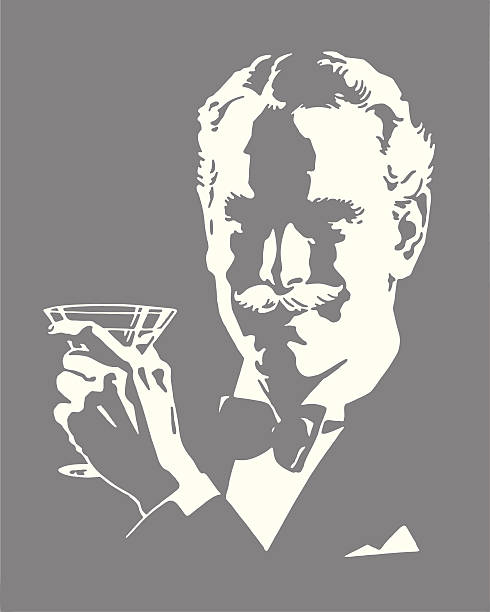 Man Wearing Bow Tie Holding Cocktail Man Wearing Bow Tie Holding Cocktail one senior man only illustrations stock illustrations