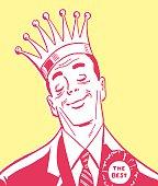 Man Wearing Crown and Ribbon