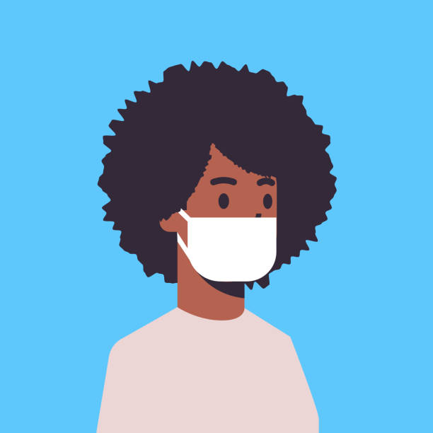 ilustrações de stock, clip art, desenhos animados e ícones de man wearing face mask environmental industrial smog dust toxic air pollution and virus protection concept african american male cartoon character portrait flat - boca suja