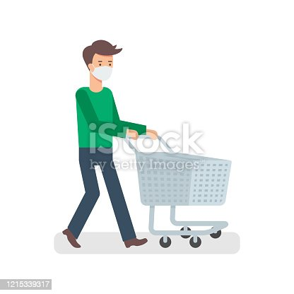 A man wearing face mask with empty trolley illustration