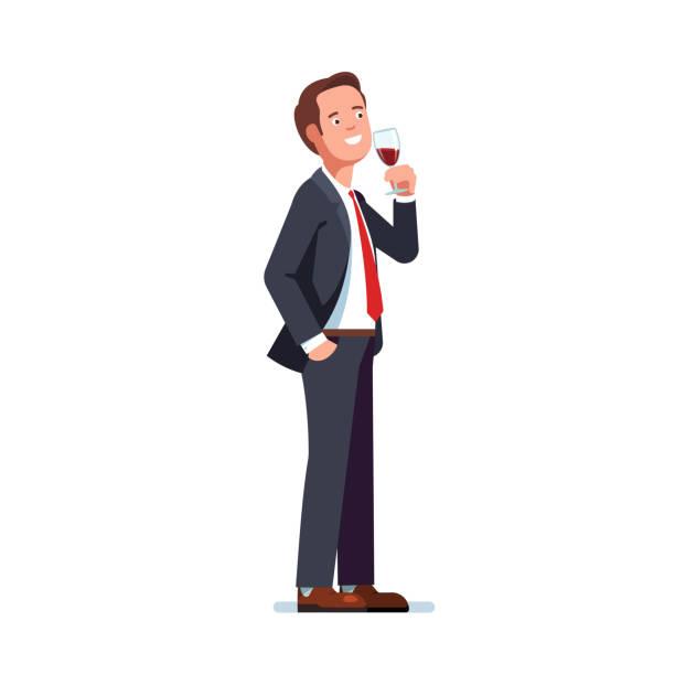 mann trägt formelle business anzug trinken verkostung rotwein in ein weinglas. flache vektor-cliparts-illustration. - nur männer stock-grafiken, -clipart, -cartoons und -symbole