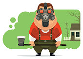 vector illustration of man wearing gas mask and holding axe