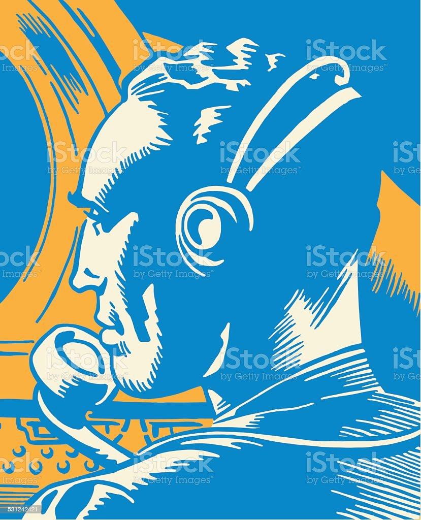 Man Wearing Headset vector art illustration
